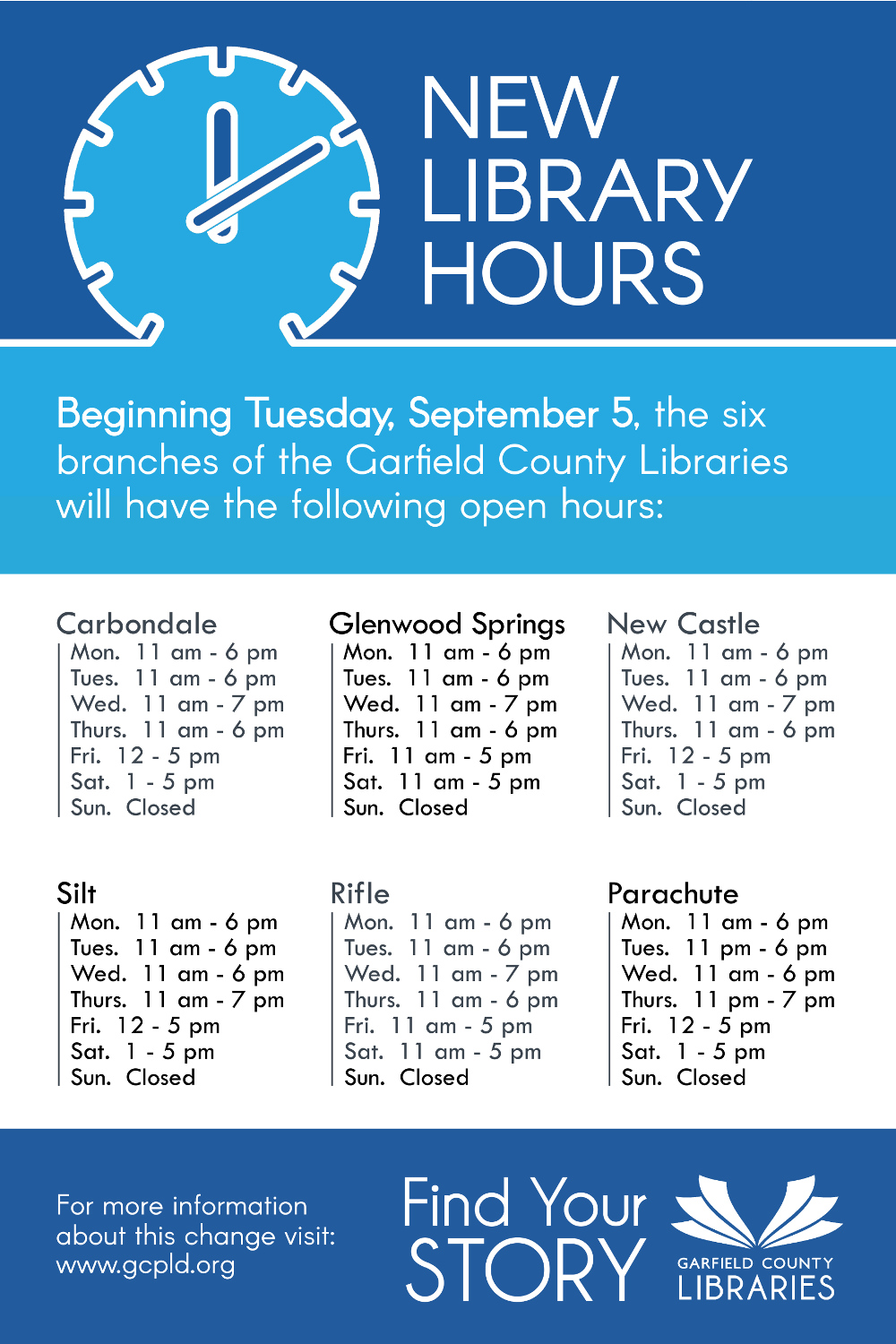 Garfield County Libraries start new hours September 5, 2017