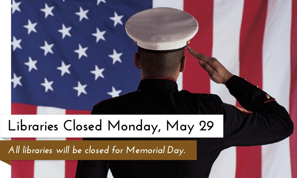 All Garfield County Libraries branches will be closed on Monday, May 29 2017 for Memorial Day